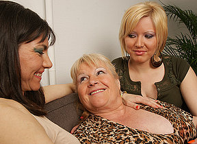 Three powered old with an increment of young lesbians enjoy each other