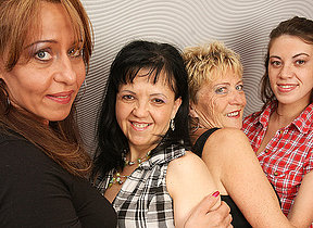 Four naughty old and young lesbians procurement wet
