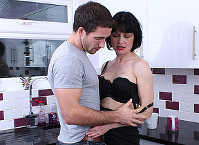 Hot British housewife gets a fuck in her kitchenette