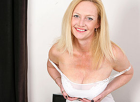 Hot blonde housewife getting wet with an increment of slanderous
