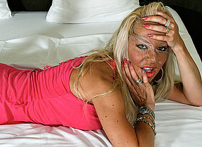 Hot blonde housewife getting very sloppy