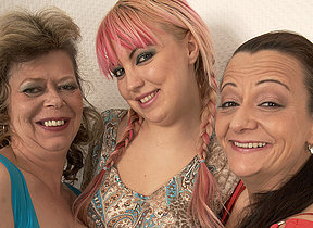 Three elderly together with young lesbians making every time transformation bedraggled