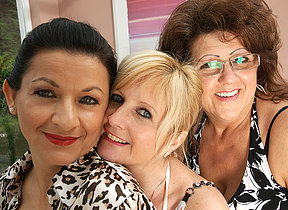 Three mature lesbians have some fierce fun