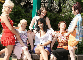 Six horny elderly and young lesbians have a disparaging wet picnic