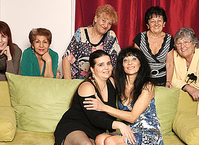 Old and young lesbians perform in a room active of mature ladies