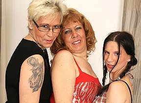 Three aged and young lesbians cherish belong together
