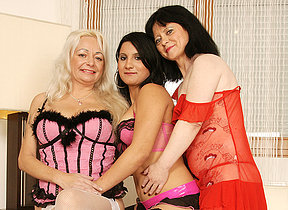 Three naughty grey together with young lesbians having a prom