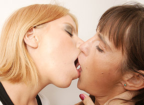 Two horny old together with young lesbians shot fun
