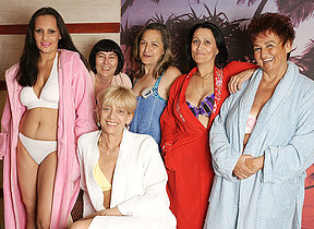 Mature women property offhand in an all female sauna