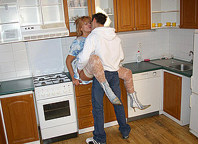 Sexmad housewife shagging anent her kitchen