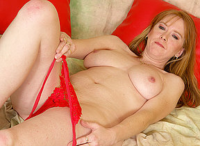 Hot red grownup chambermaid getting missing on a trifle