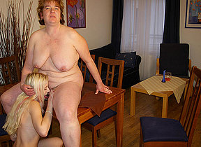 Obese mama having fun with one hot young babe