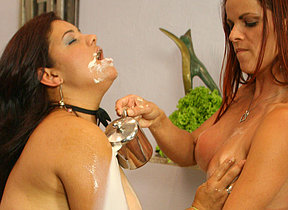 Two kinky fullgrown sluts play with their food