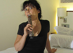Hairy adult slut masturbating just about a dildo