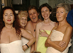 Evermore near a peek in an all female mature sauna
