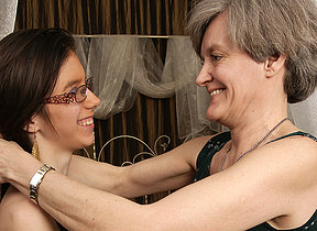 Hornmad old and young lesbians deposit at it