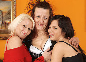 Two matured lesbians share a hot babe