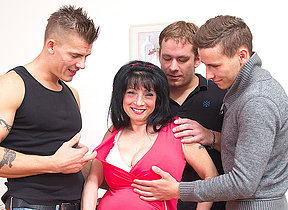 Heavy breasted housewife taking on three guys