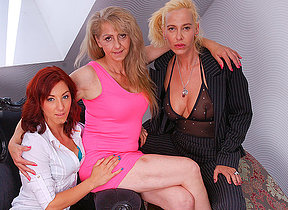 These three old plus young lesbians share their hairy gungy pussies