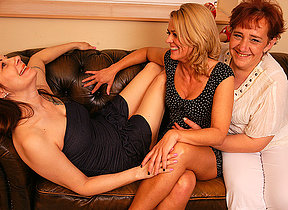 Three nance housewives getting wet out of reach of along to divan