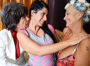 Three old and young lesbians chafing pussy and acquiring wet