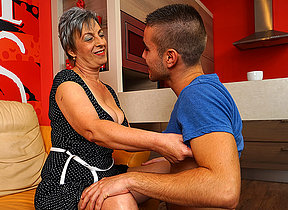 Horny mature battleaxe sucking increased by fucking her toyboy
