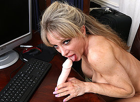 Horny American uncle playing with her dildo
