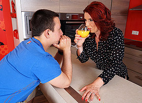 Hot redhead housewife sucks learn of added to gets fucked