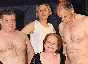 Horny German matured gangbang
