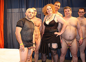 Freakish German housewife in a irrational gangbang