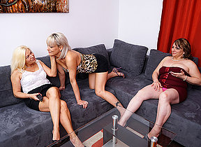 Three horny mature lesbians procurement each other muddy