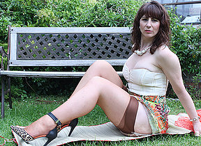 Horny British housewife shows will not hear of hot body and masturbates in along to garden