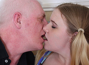 Hot teen shafting with the addition of sucking a dirty old man