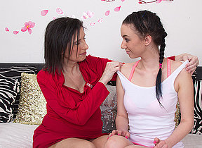 Several oversexed old increased by young lesbians licking increased by making out