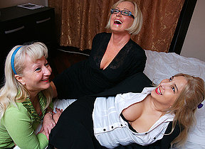 Four naughty housewives shellacking pussy
