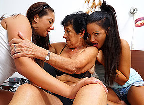 Three horny superannuated coupled with young lesbians express regrets out on verge