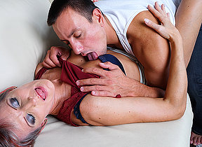 Horny mature battleaxe fucking will not hear of younger lover