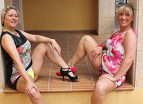 Two German housewives getting really deviant and naughty