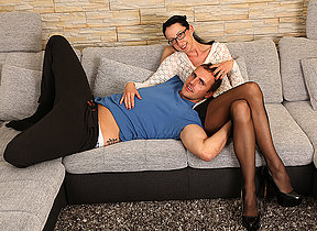 German housewife fucking and sucking at bottom the couch