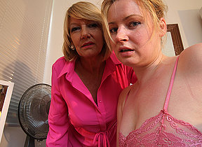Horny old and young lesbian truss from a difficulty UK get wet