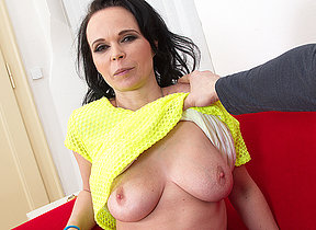 Horny mommy bringing off with a hard load of shit