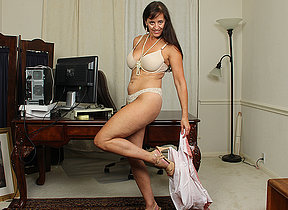 Hot American housewife playing with will not hear of toyboy
