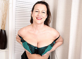 Fat breasted British housewife carryingon with herself