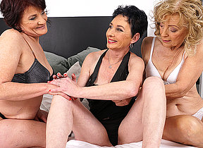 Three mature lesbians licking their pussies soaked