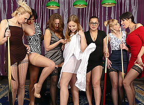 Seven old and young lesbians have a go fun within reach the pooltable