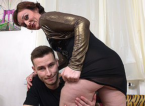 Naughty randy housewife shagging together with sucking her trinket boy