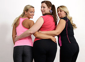 Four hermaphroditical housewives sharing one hard cock at gymclass