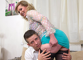 Blistering housewife sucking and fucking her toy boy
