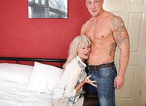 Wretched British housewife pranks with the brush younger lover