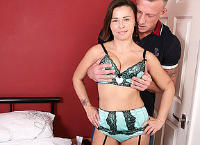 Sultry British Mom fucking coupled with sucking will not hear of ass off